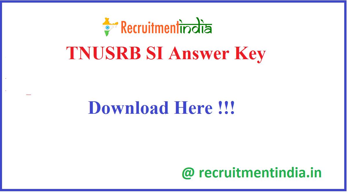 TNUSRB SI Answer Key