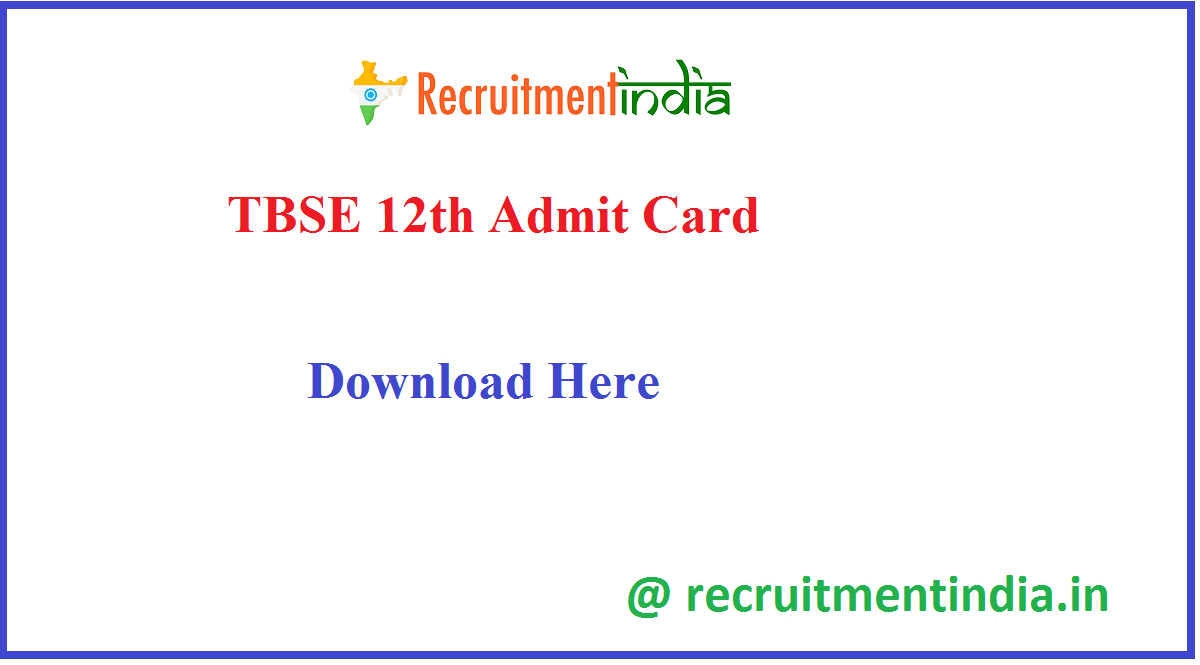 TBSE 12th Admit Card