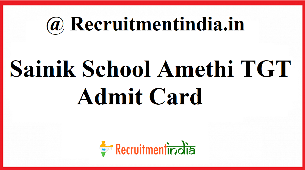Sainik School Amethi TGT Admit Card