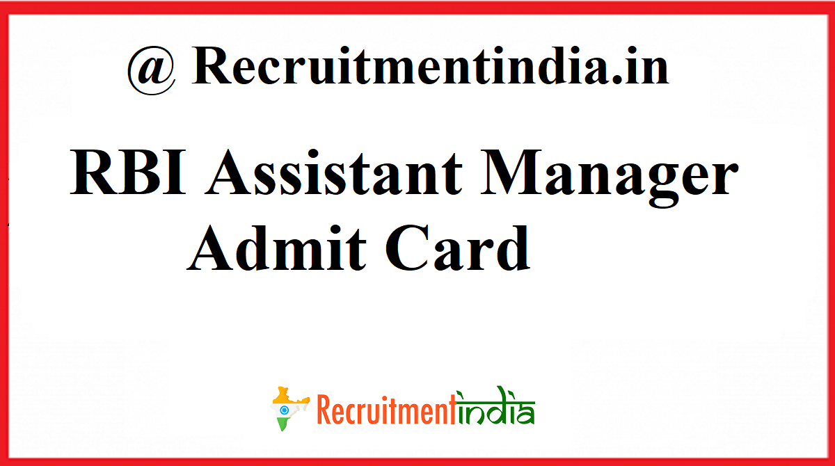 RBI Assistant Manager Admit Card