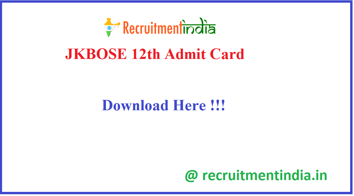JKBOSE 12th Admit Card