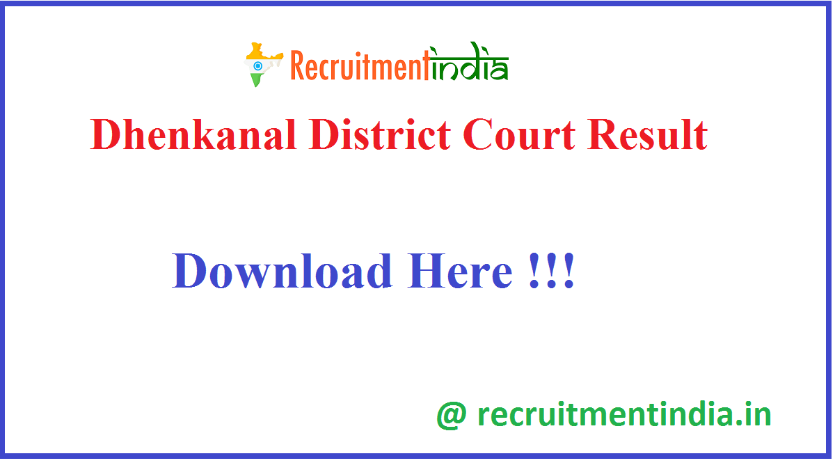 Dhenkanal District Court Result