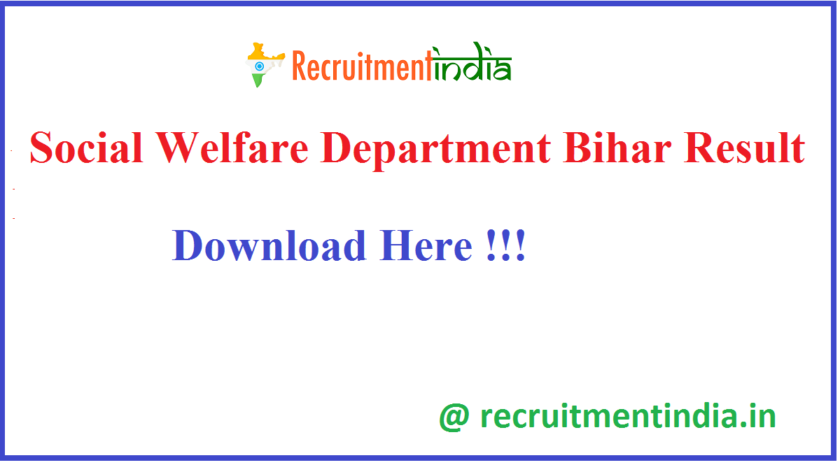 Social Welfare Department Bihar Result
