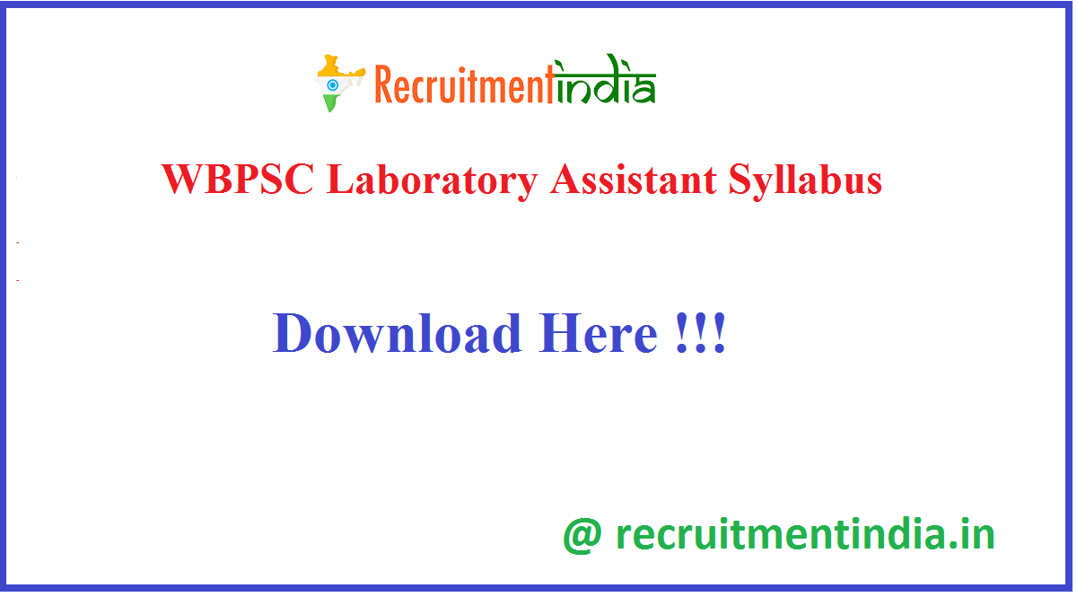 WBPSC Laboratory Assistant Syllabus