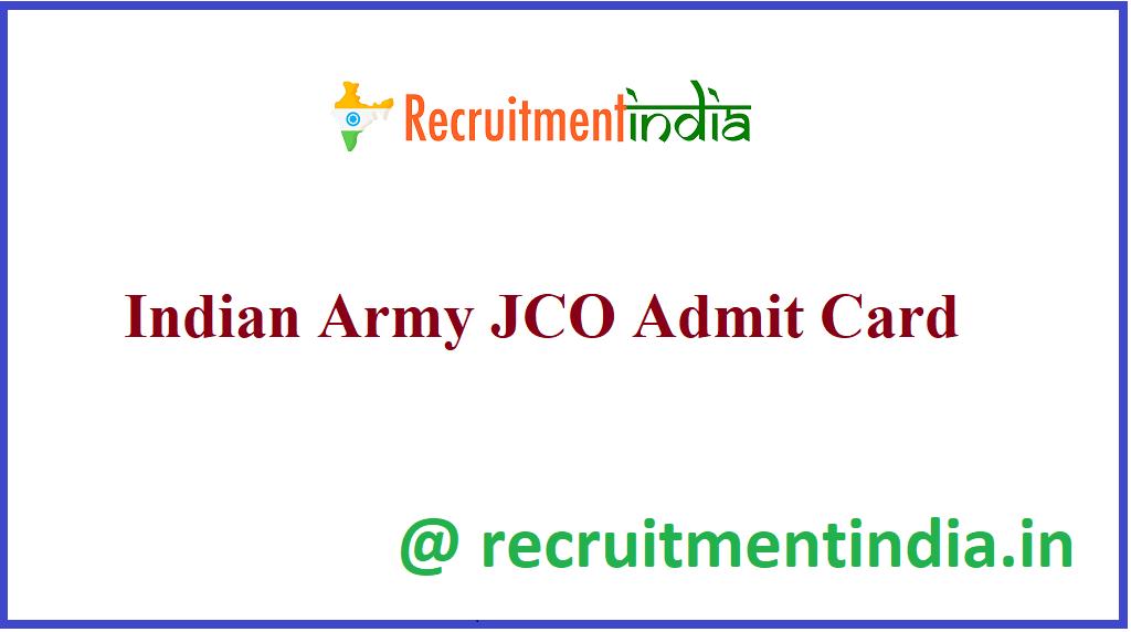 Indian Army JCO Admit Card