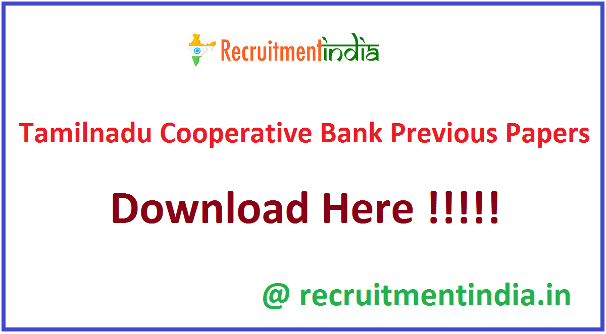 Tamilnadu Cooperative Bank Previous Papers