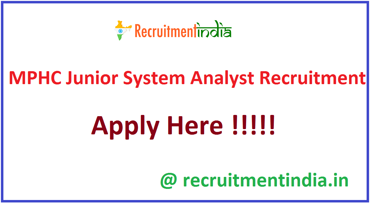 MPHC Junior System Analyst Recruitment