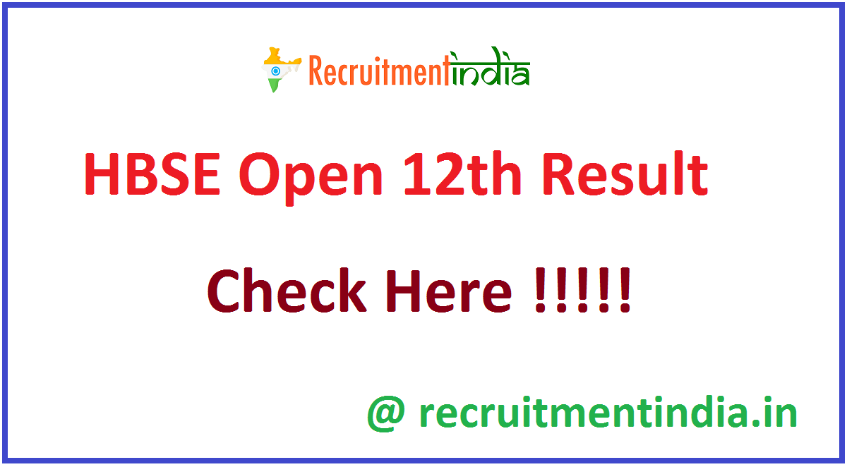 HBSE Open 12th Result