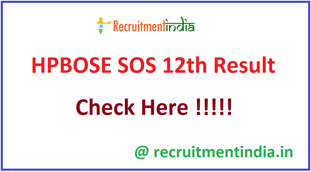 HPBOSE SOS 12th Result