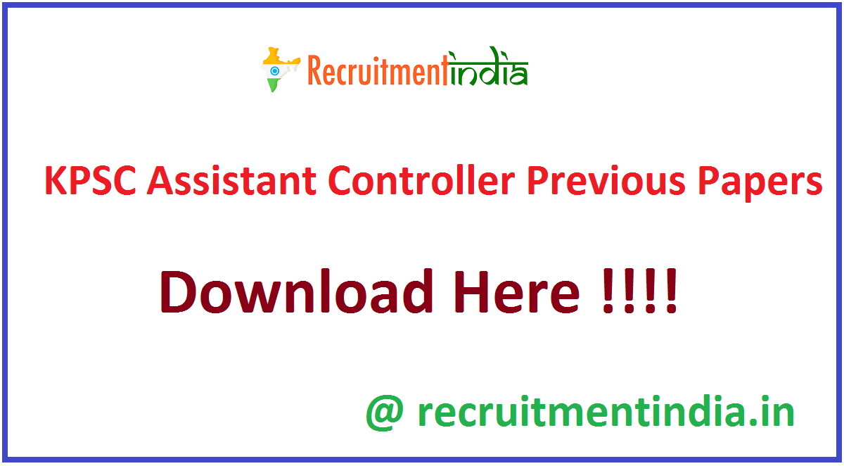 KPSC Assistant Controller Previous Papers