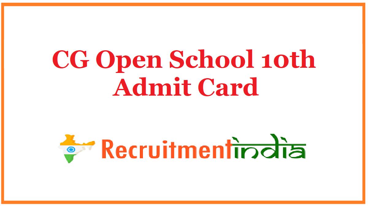 CG Open School 10th Admit Card