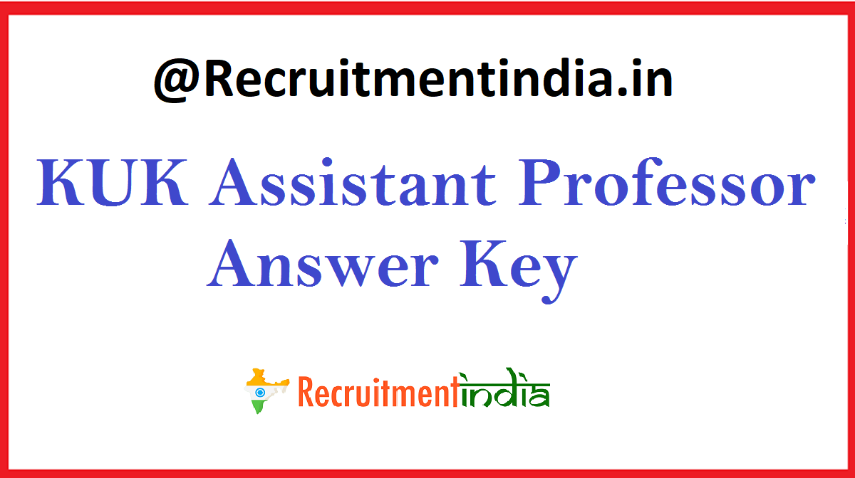 KUK Assistant Professor Answer Key
