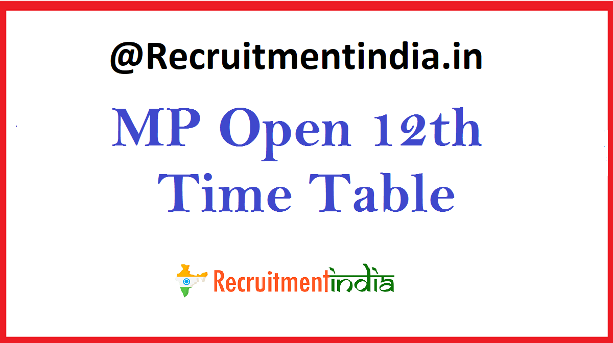 MP Open 12th Time Table