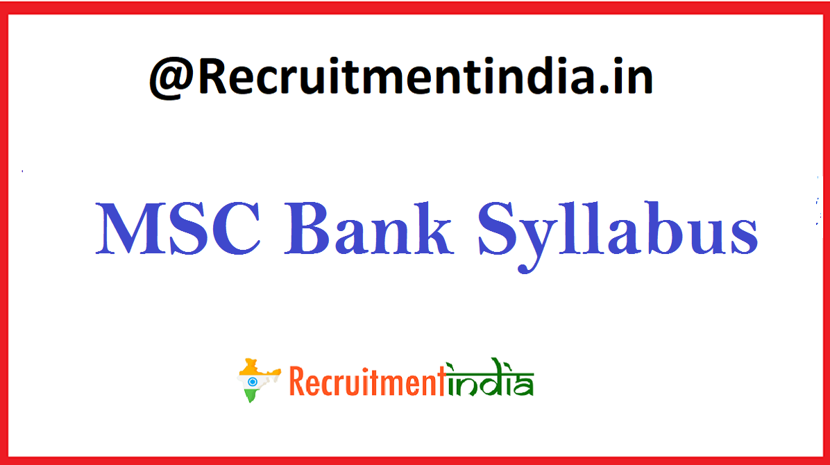 MSC Bank Syllabus