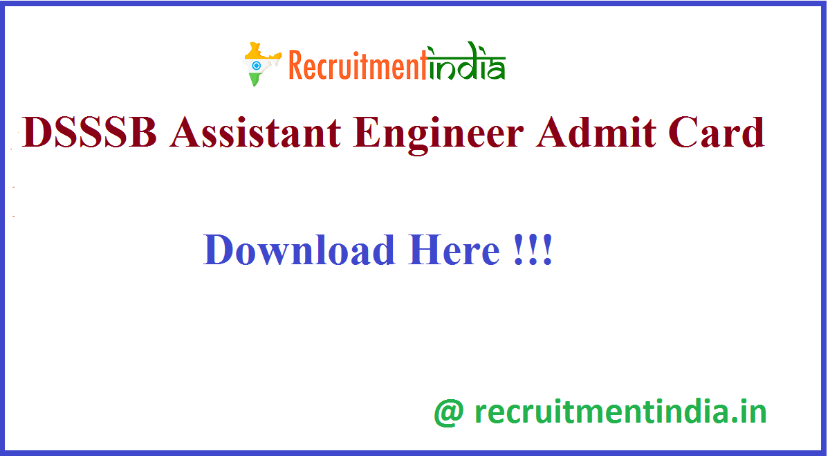 DSSSB Assistant Engineer Admit Card
