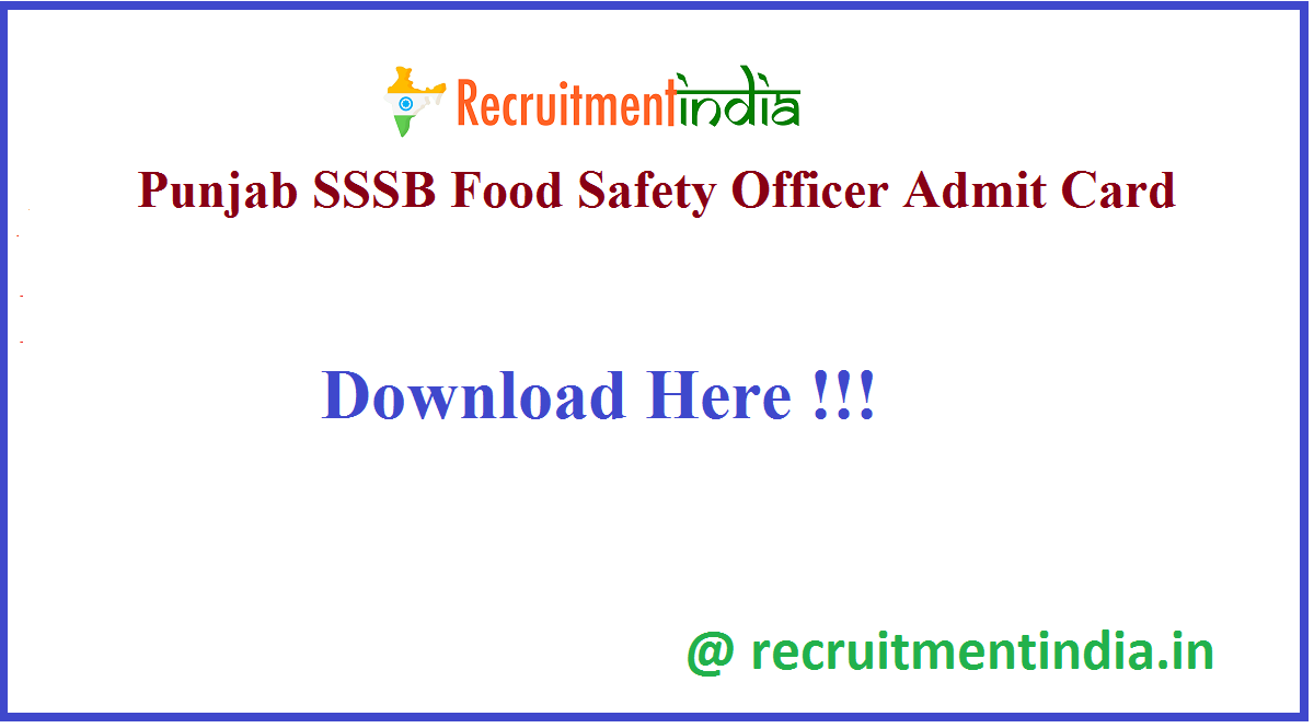 Punjab SSSB Food Safety Officer Admit Card