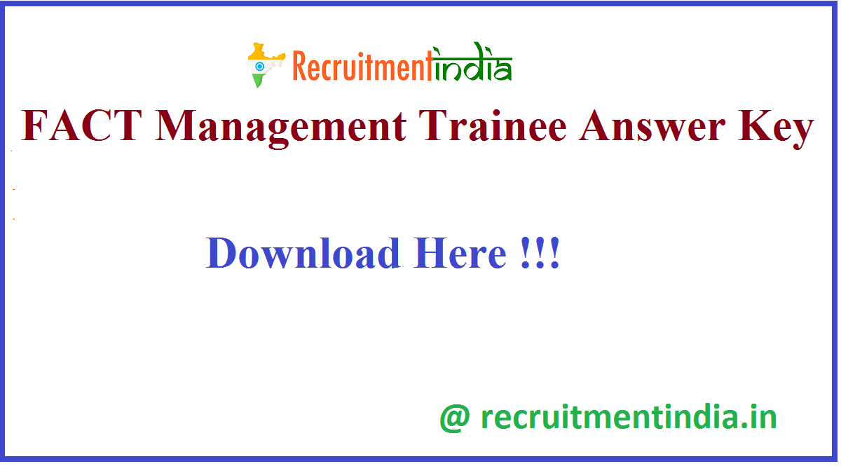 FACT Management Trainee Answer Key