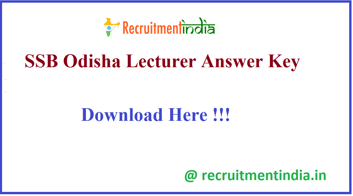 SSB Odisha Lecturer Answer Key