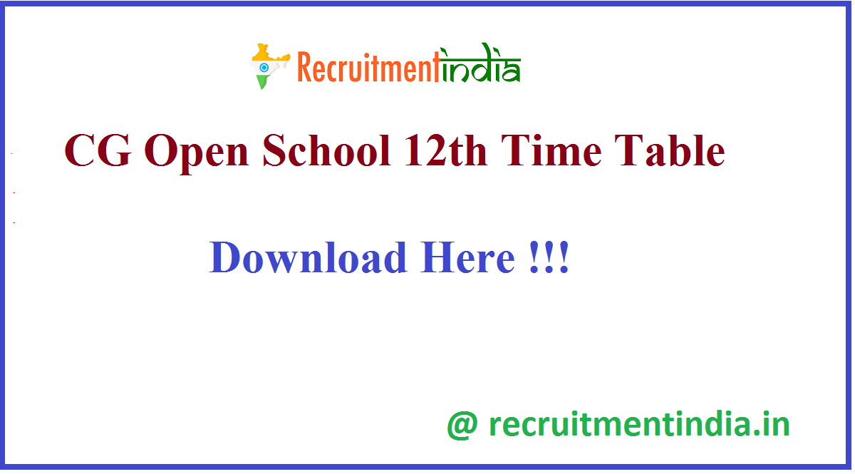 CG Open School 12th Time Table