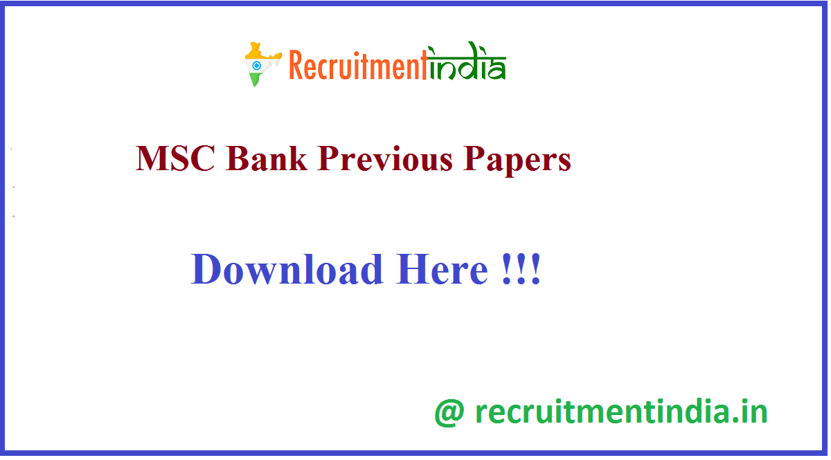 MSC Bank Previous Papers