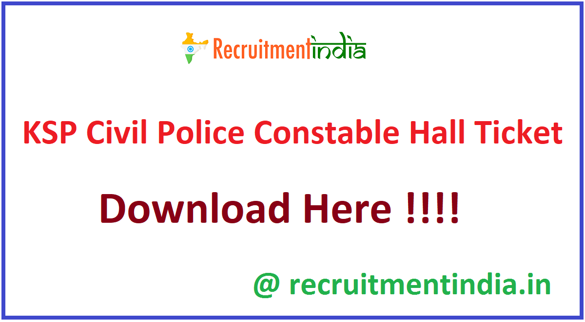 KSP Civil Police Constable Hall Ticket