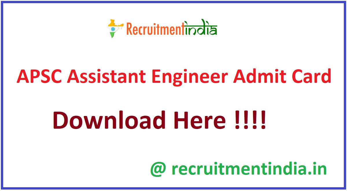 APSC Assistant Engineer Admit Card