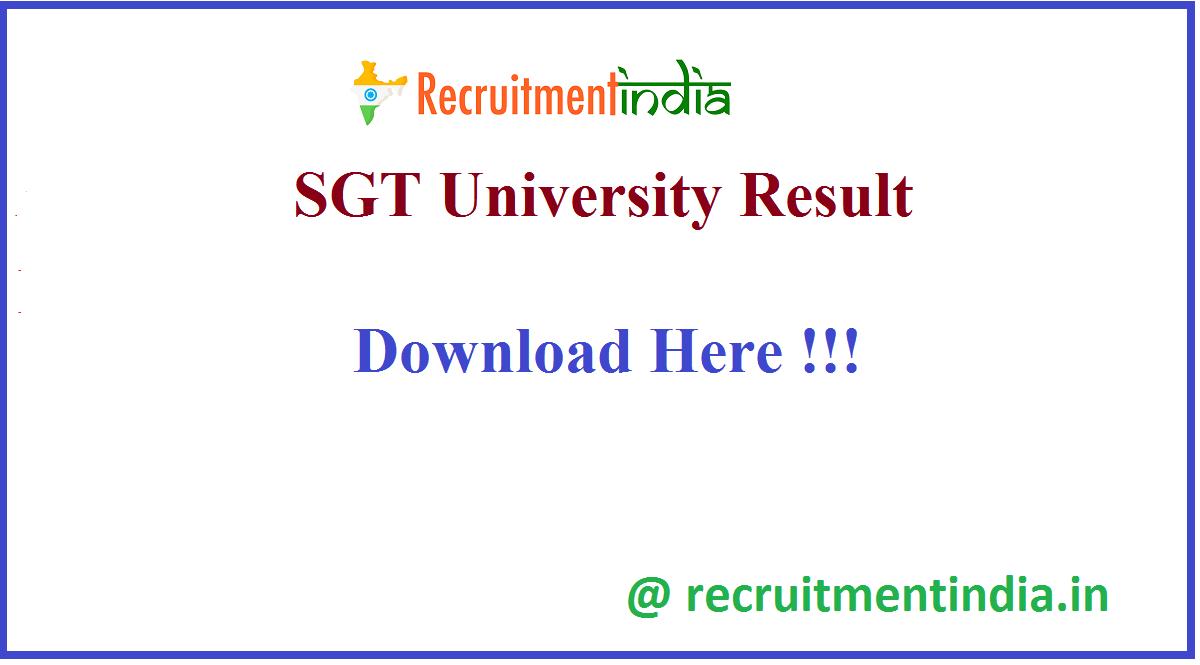 SGT University Result