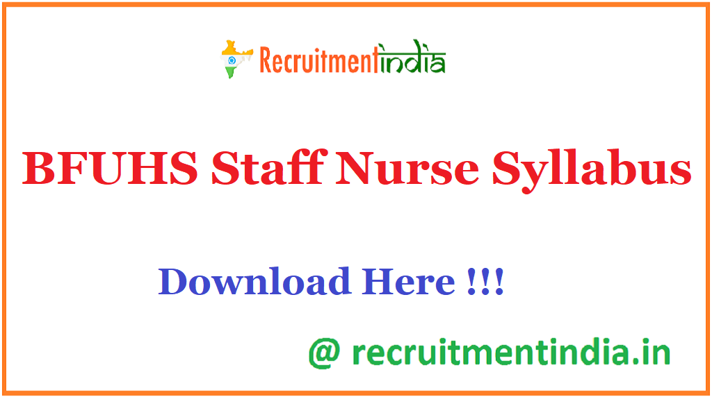 BFUHS Staff Nurse Syllabus