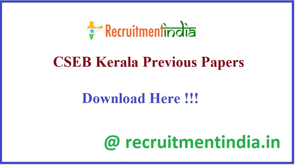 CSEB Kerala Previous Papers
