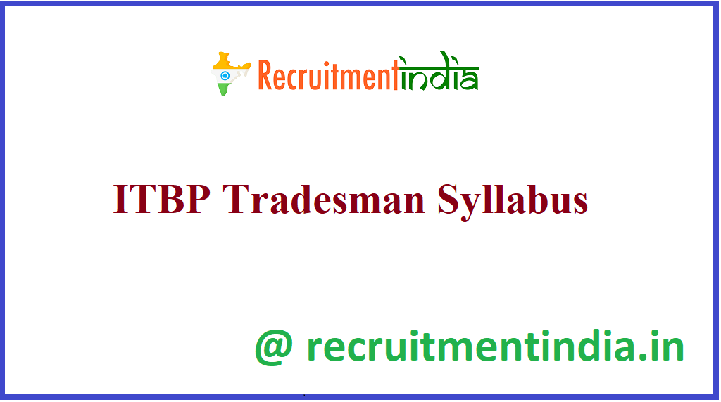 ITBP Tradesman Syllabus