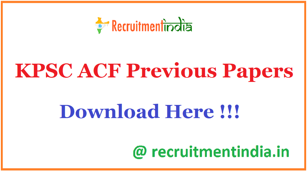 KPSC ACF Previous Papers