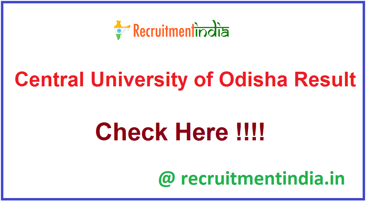 Central University of Odisha Result