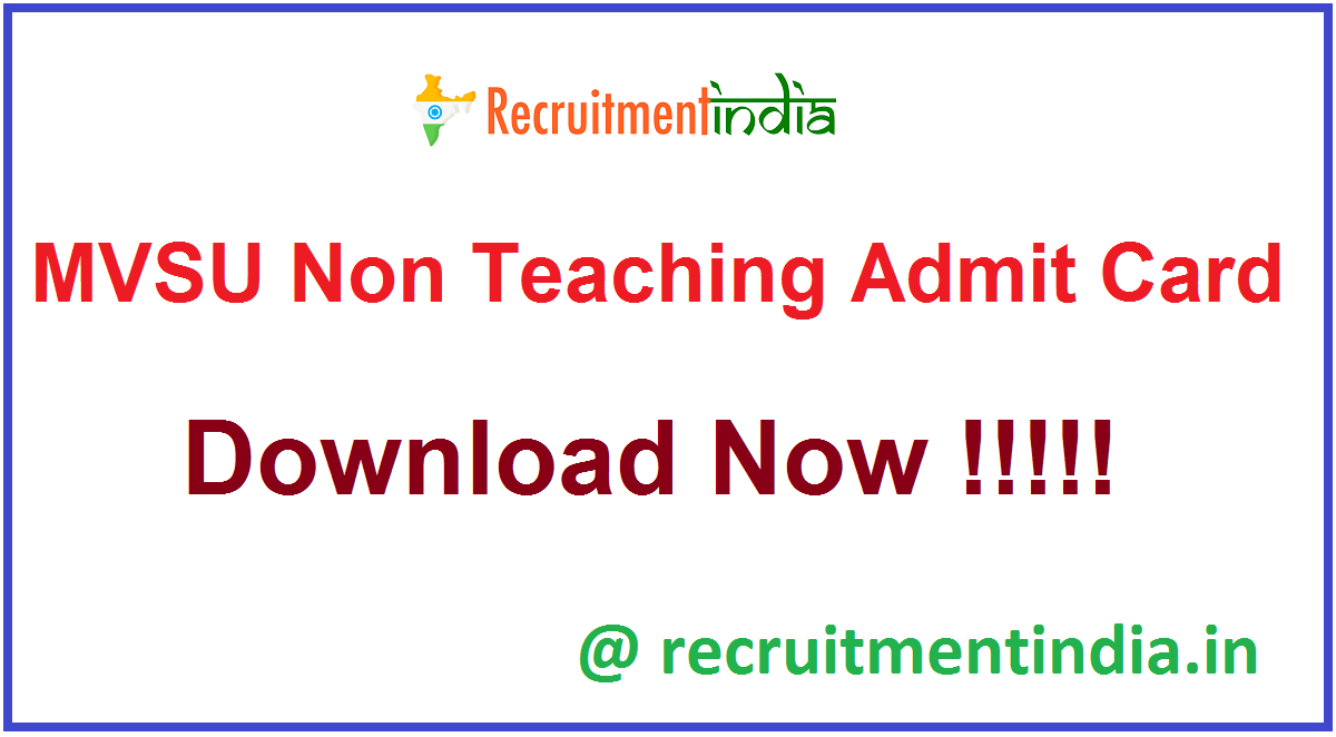 MVSU Non Teaching Admit Card