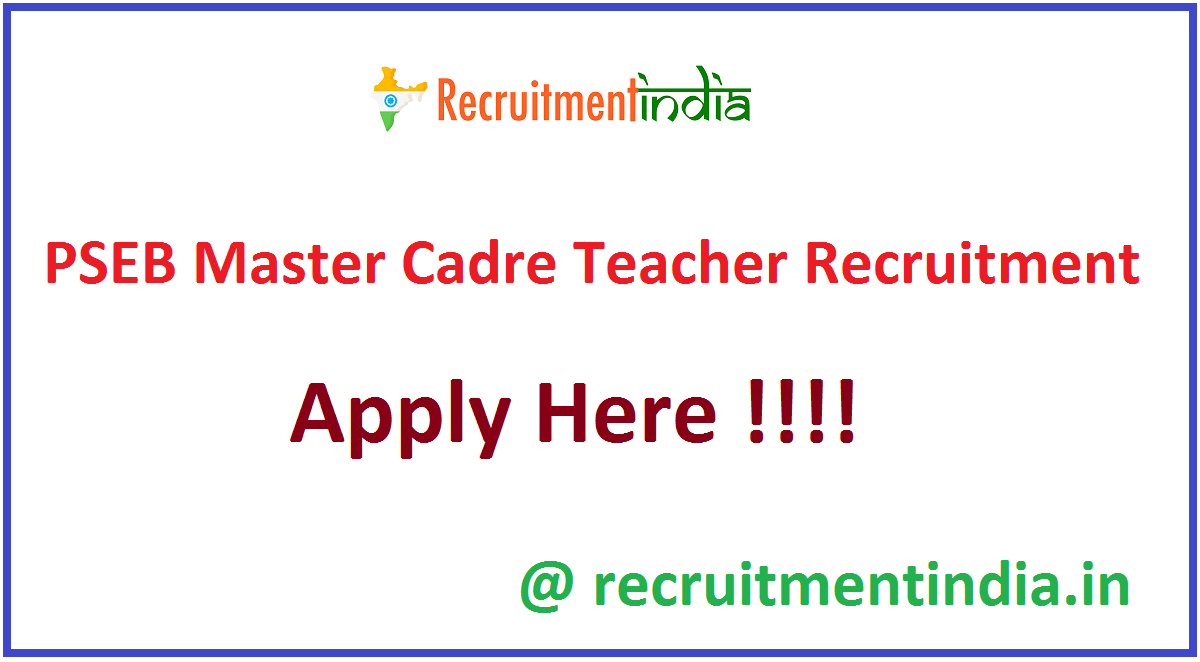 PSEB Master Cadre Teacher Recruitment