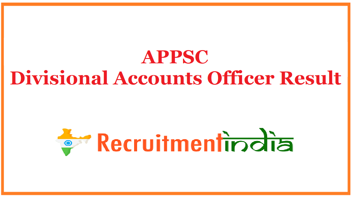 APPSC Divisional Accounts Officer Result