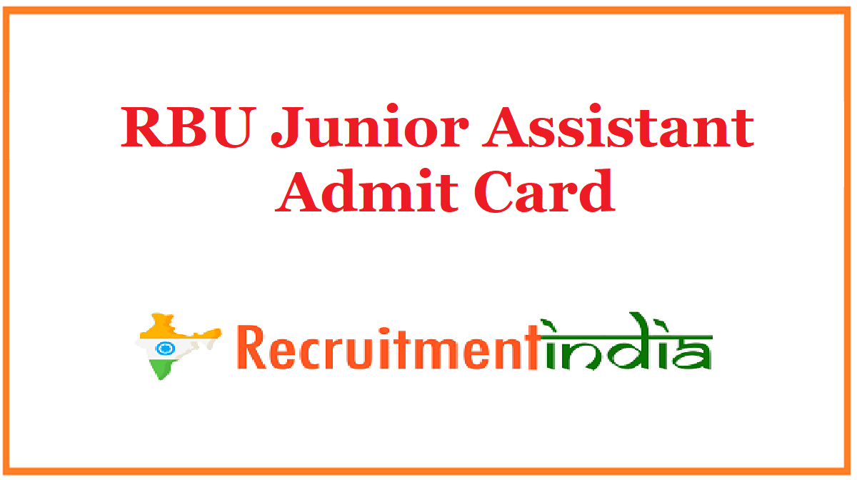 RBU Junior Assistant Admit Card