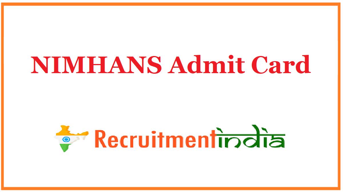 NIMHANS Admit Card