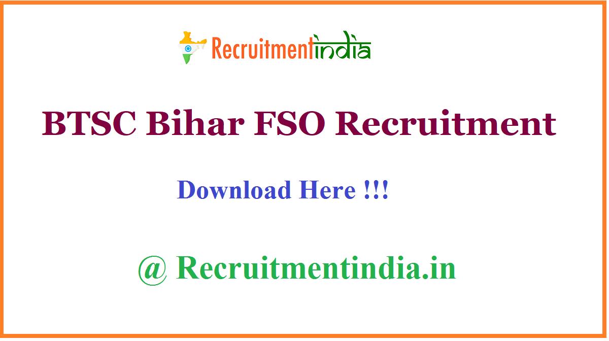 BTSC Bihar FSO Recruitment