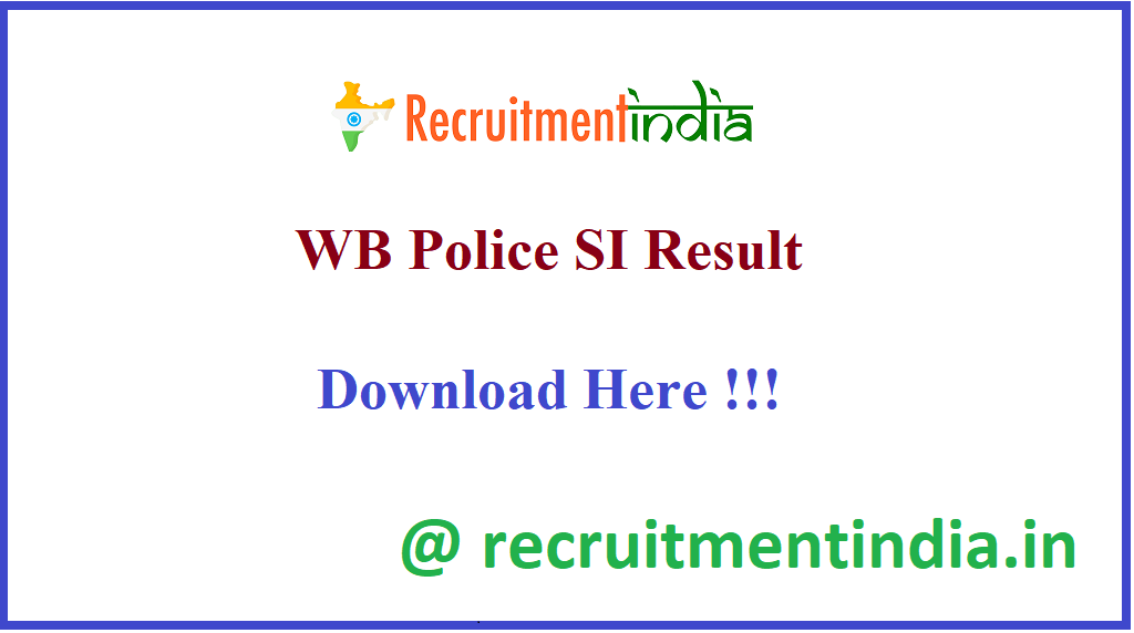 WB Police SI Result