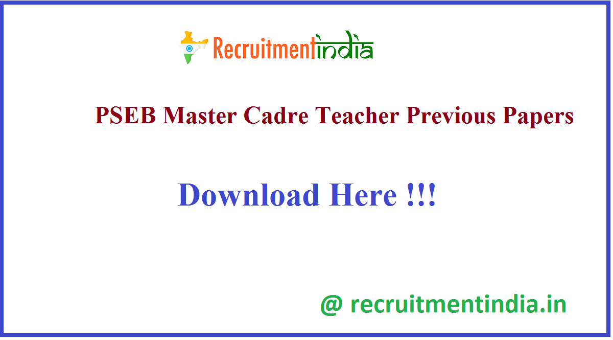 PSEB Master Cadre Teacher Previous Papers