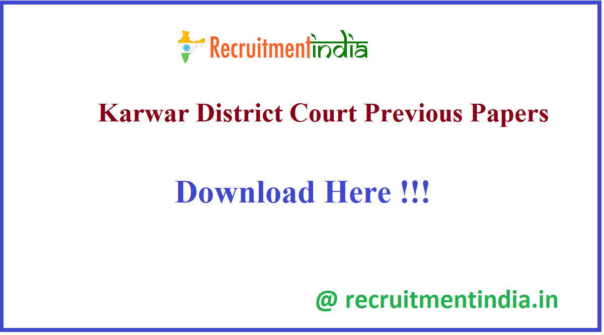 Karwar District Court Previous Papers