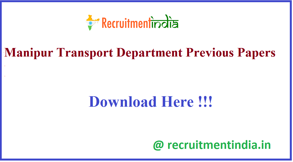 Manipur Transport Department Previous Papers