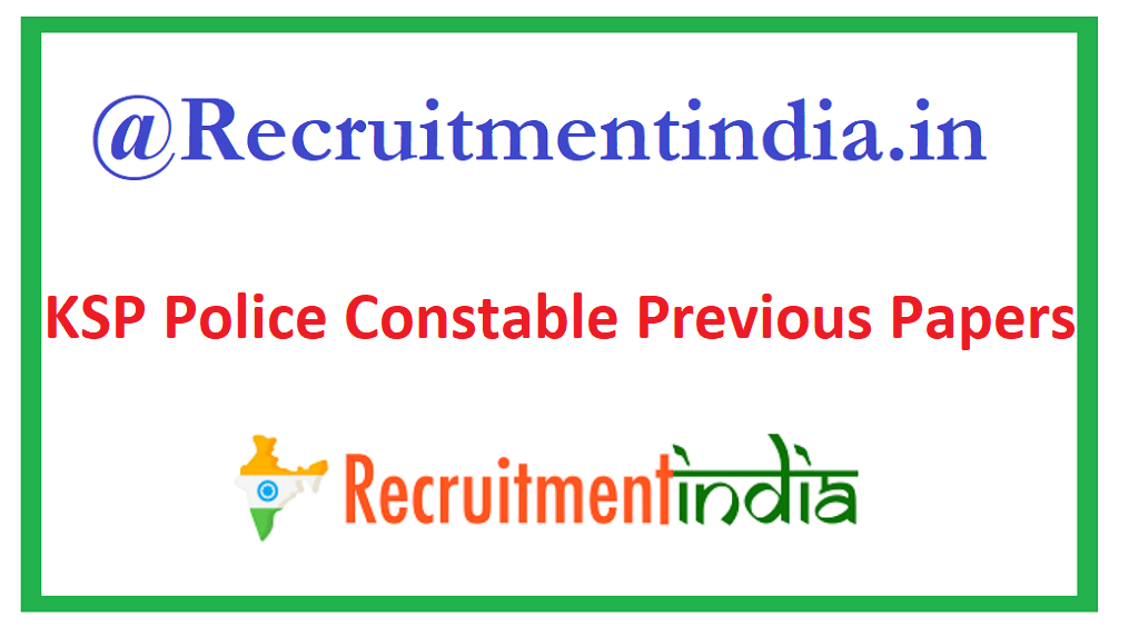 KSP Police Constable Previous Papers
