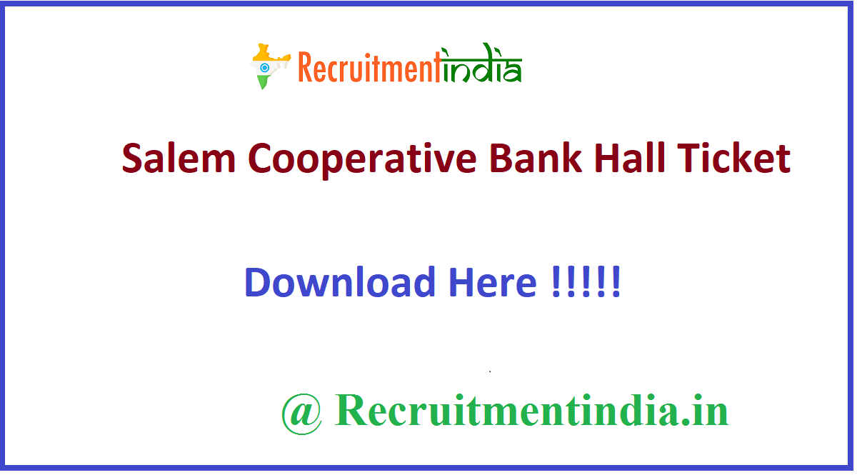 Salem Cooperative Bank Hall Ticket