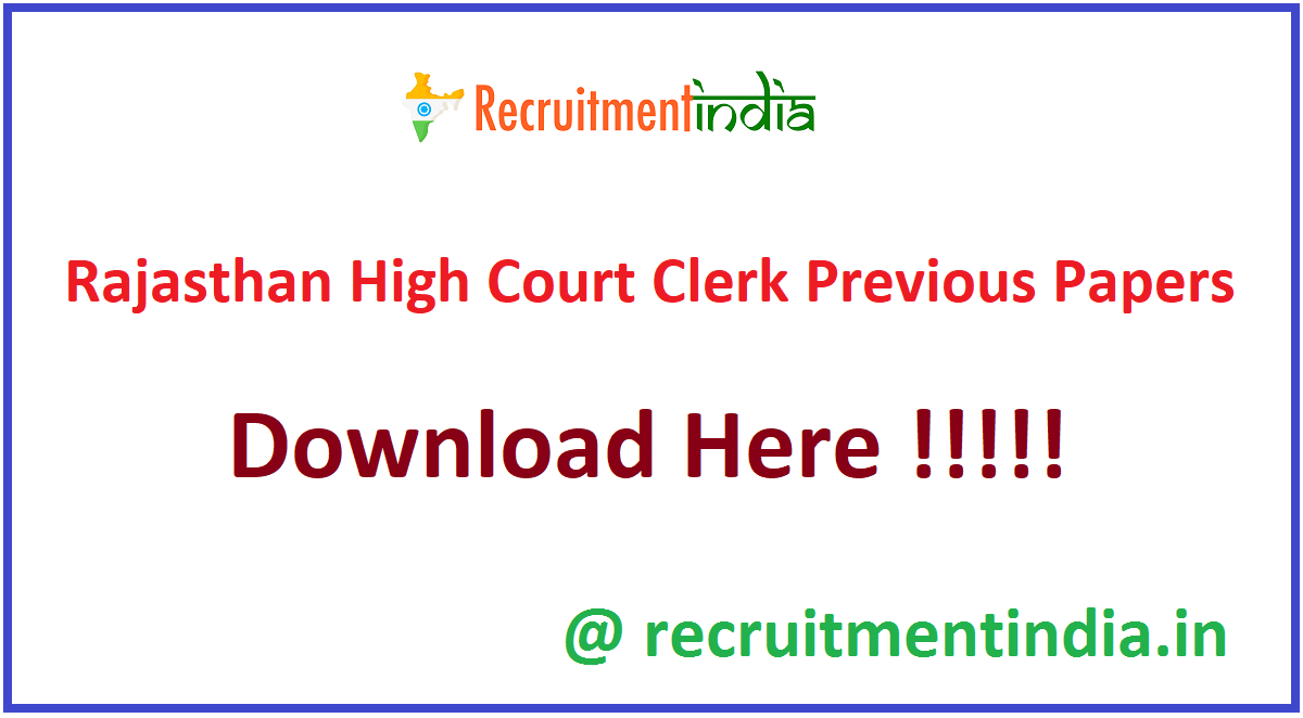 Rajasthan High Court Clerk Previous Papers