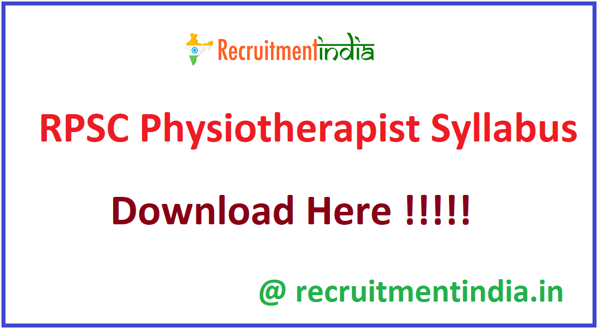 RPSC Physiotherapist Syllabus