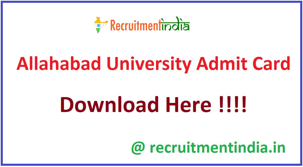 Allahabad University Admit Card