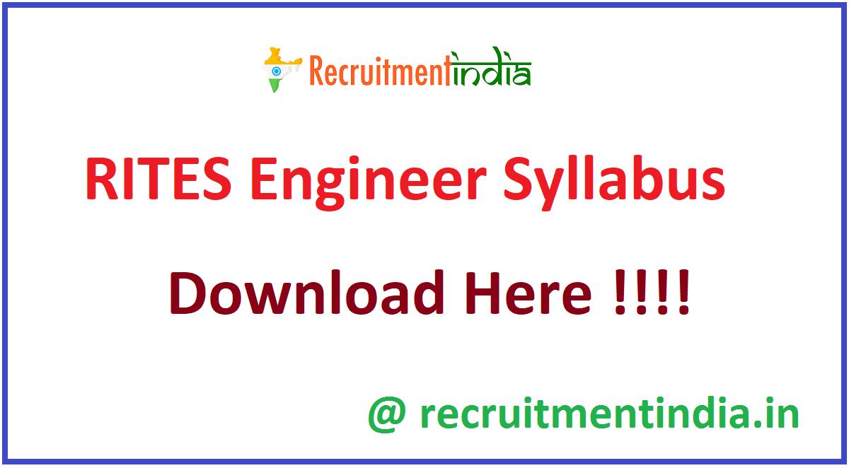 RITES Engineer Syllabus