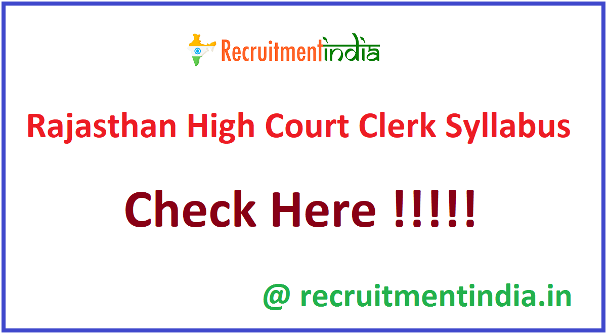 Rajasthan High Court Clerk Syllabus
