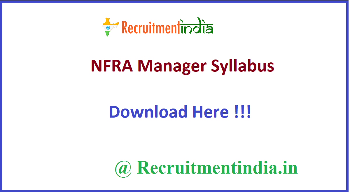 NFRA Manager Syllabus